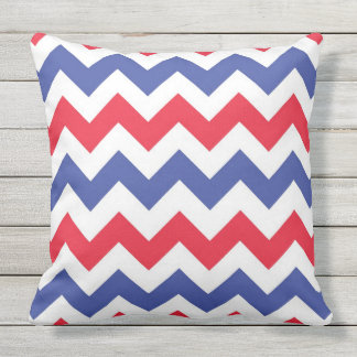 red white and blue Chevron pattern Outdoor Pillow