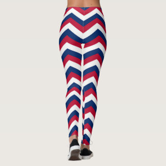 Red White and Blue Chevron Zigzag Pattern Leggings
