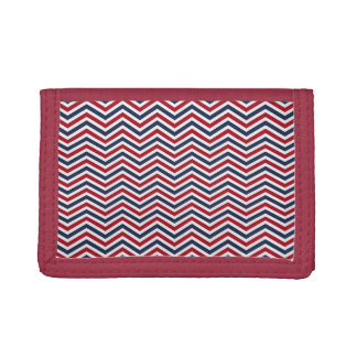 Red White and Blue Chevrons Trifold Wallets