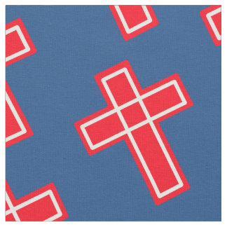 Red white and blue Christian cross pattern Fabric