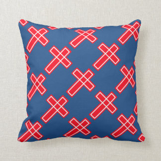 Red white and blue Christian cross Throw Pillow