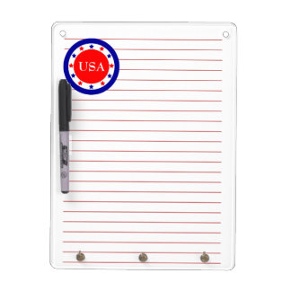 Red, White and Blue Circle with Stars Dry Erase Board