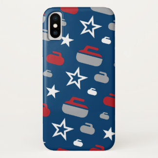 Red, White and Blue Curling Rocks Cell Phone Case
