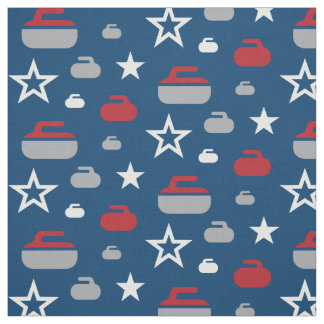 Red, White and Blue Curling Rocks Fabric