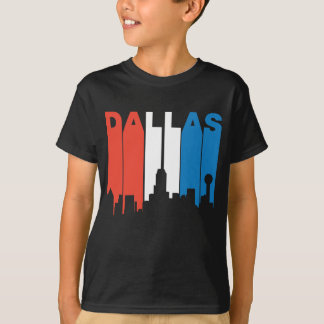 Red White And Blue Dallas Texas Skyline T-Shirt