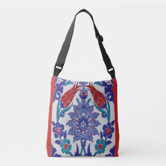 Red White and Blue Decorative Floral Tote Bag