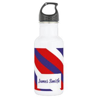 Red White and Blue Diagonal Stripe Monogram 532 Ml Water Bottle