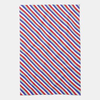 Red, White, and Blue Diagonal Stripes Kitchen Towel