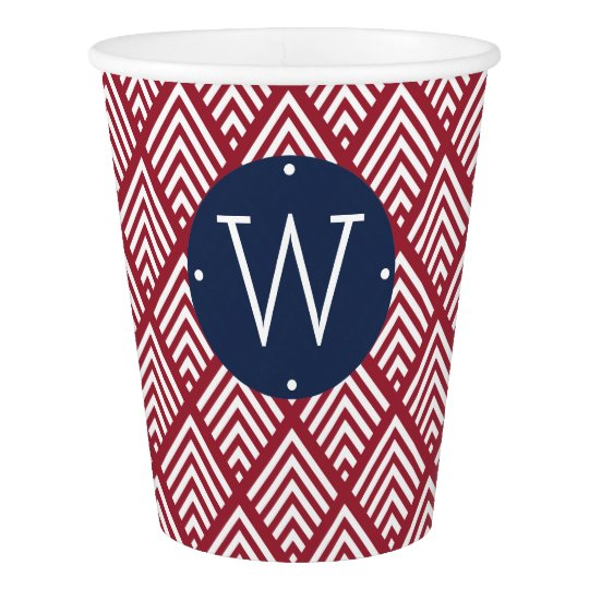 Red, White and Blue Diamond Monogram Paper Cup