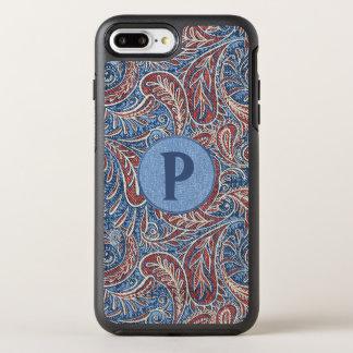 Red, White and Blue Faux Denim Paisley Monogram OtterBox Symmetry iPhone 8 Plus/7 Plus Case