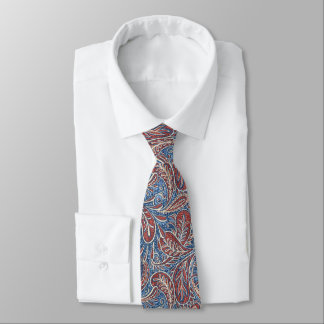 Red, White and Blue Faux Denim Paisley Tie