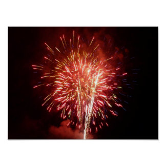 Red, White and Blue Fireworks II Patriotic Poster