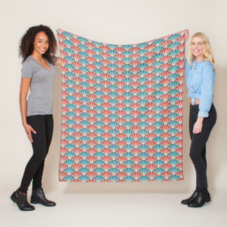 Red White and Blue Fireworks Pattern Fleece Blanket