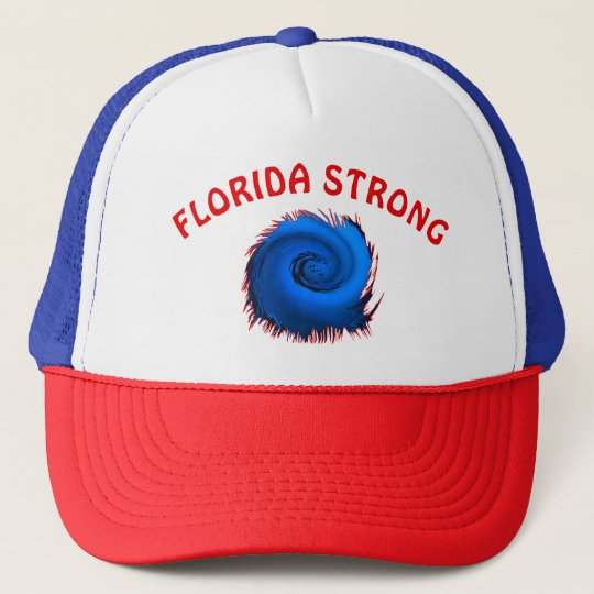 Red White and Blue Florida Strong Hat, Hurricane H Trucker Hat
