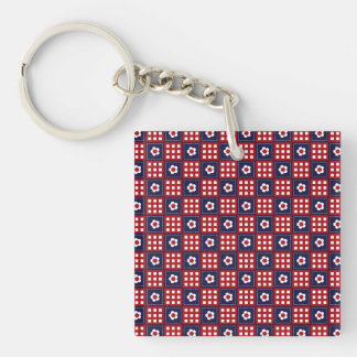 Red White and Blue Flower Patchwork Quilt Pattern Double-Sided Square Acrylic Keychain