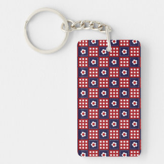 Red White and Blue Flower Patchwork Quilt Pattern Double-Sided Rectangular Acrylic Keychain