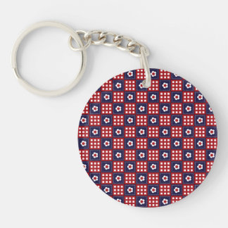 Red White and Blue Flower Patchwork Quilt Pattern Single-Sided Round Acrylic Keychain
