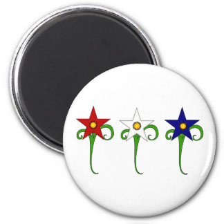 Red, White and Blue Flowers 2 Inch Round Magnet