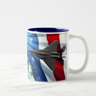 RED WHITE AND BLUE FLY-BY Two-Tone COFFEE MUG