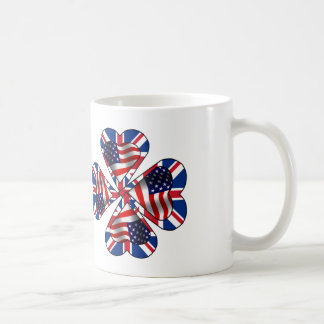 Red, White and Blue Four Leaf Clover Coffee Mug