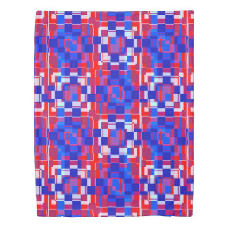 red white and blue geometric duvet cover