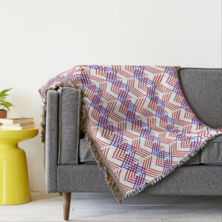 Red White And Blue Geometric Zigzag Throw Blanket