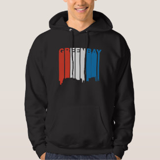 Red White And Blue Green Bay Wisconsin Skyline Hoodie