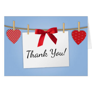 Red White and Blue Hearts and Bows Thank You Card