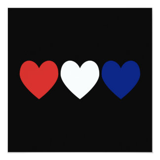 Red White and Blue Hearts Card