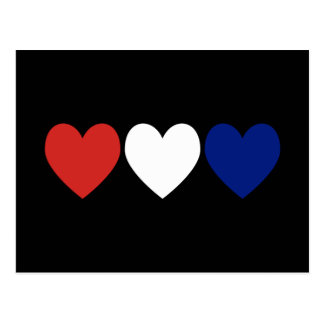 Red White and Blue Hearts Postcard