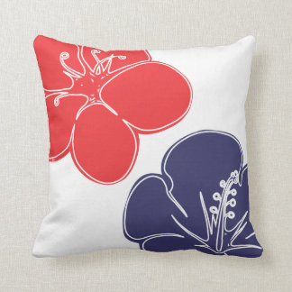 Red, White and Blue Hibiscus Flowers Throw Pillow