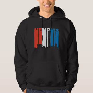 Red White And Blue Memphis Tennessee Skyline Hoodie