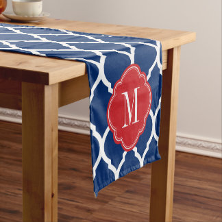 Red White and Blue Moroccan Quatrefoil Monogram Short Table Runner