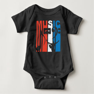 Red White And Blue Music Baby Bodysuit
