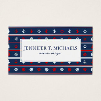 Red White And Blue Nautical Pattern Business Card