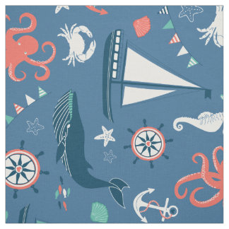 Red White and Blue Nautical Pattern Fabric