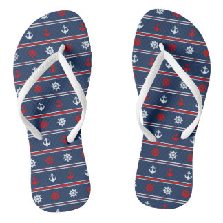 Red White And Blue Nautical Pattern Flip Flops