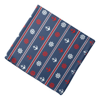 Red White And Blue Nautical Pattern Head Kerchief