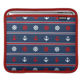 Red White And Blue Nautical Pattern iPad Sleeves