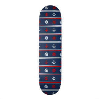 Red White And Blue Nautical Pattern Skate Boards