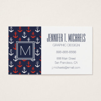 Red White And Blue Navy Pattern Business Card