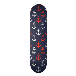 Red White And Blue Navy Pattern Skateboard