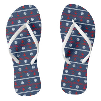 Red White And Blue Ocean Pattern Flip Flops