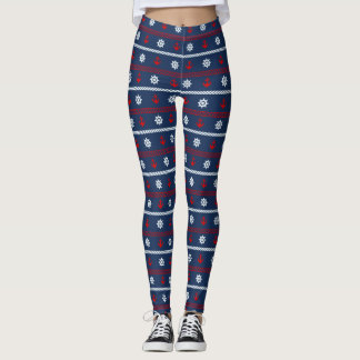 Red White And Blue Ocean Pattern Leggings