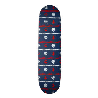 Red White And Blue Ocean Pattern Skate Boards