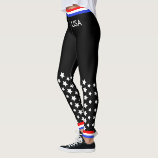 Red White and Blue on Black Leggings