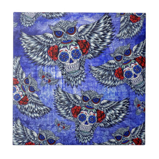 Red white and blue owl with sugar skull pattern tile