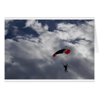 Red white and Blue Parachute with clouds Card