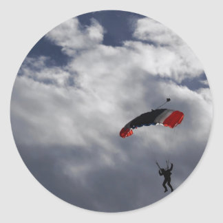 Red white and Blue Parachute with clouds Classic Round Sticker