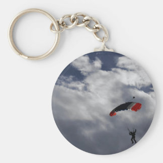 Red white and Blue Parachute with clouds Keychain
